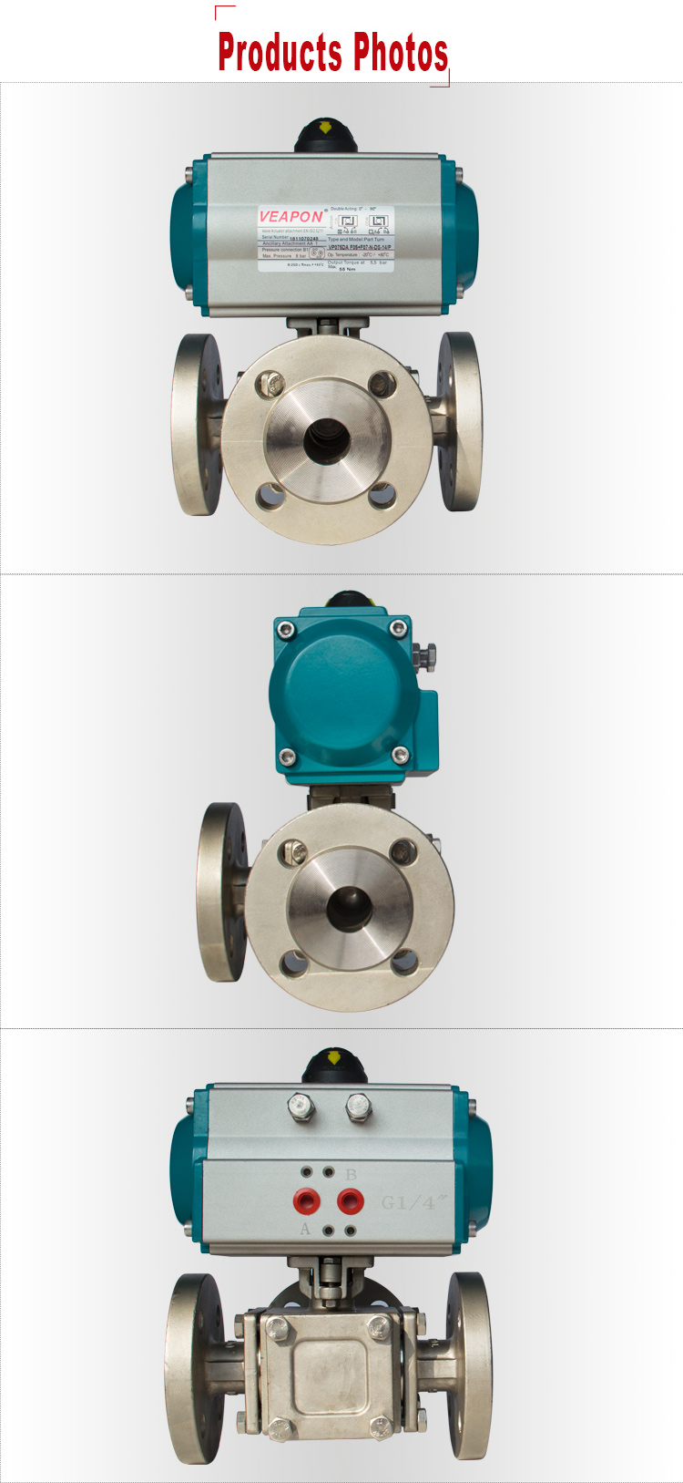 Product Photo detail for 3-ways Pneumatic Flanged Ball Valve.jpg
