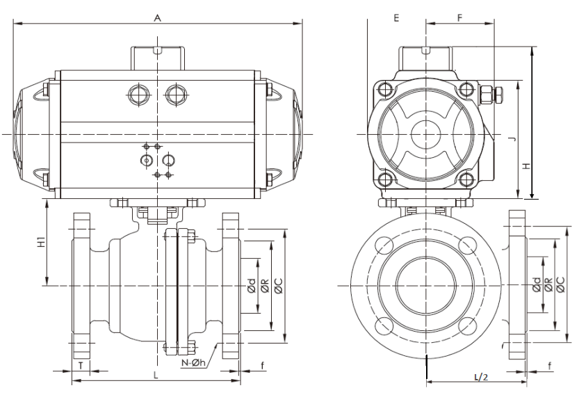 CAD Drawing for 3-way Pneumatic Flanged Ball Valve.png